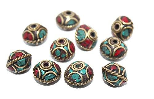 Nepalese Tibetan Handmade turquoise, coral Beads (10 beads) Nepalese Beads Tibetan Beads Tribal beads Handmade Beads Tribal beads BDS640