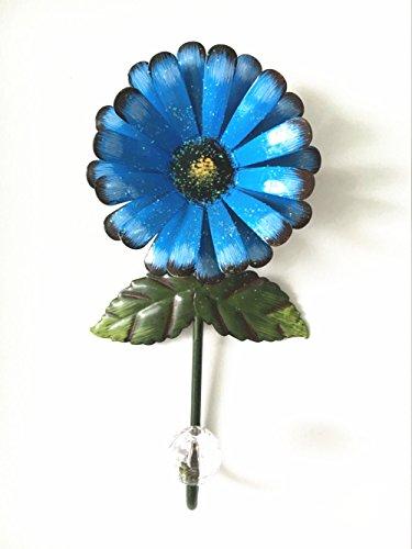 Vintage Iron with Fashion Crystal Diamond Sunflower Decorative Wall Hook ,Cut Key Hat Cloth Towel Bag Wall Hanger Wardrobe Hooks (Blue)