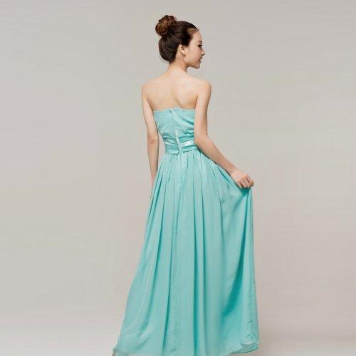 Ausschnitt Linie A Damen Reissverschluss Dearta Abendkleider Kleidungen Bodenlang Blau Aermellos Chiffon Herz CX6tq