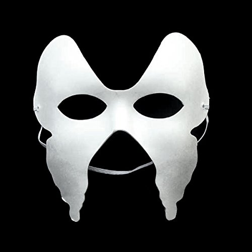 LUOEM 10pcs Masquerade Masks Halloween Eco-Friendly Paper Pulp Funny Butterfly Mask (White) ()
