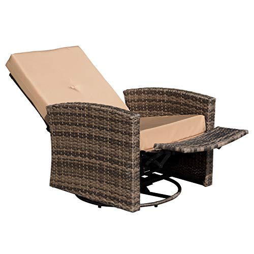 Outsunny Rattan Wicker Swivel Rocking Outdoor Recliner Lounge Chair