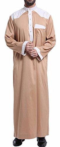 Cromoncent Mens Contrast Long Sleeve Muslim Casual Saudi Arab Robe Thobe Islamic Wear Light Tan L