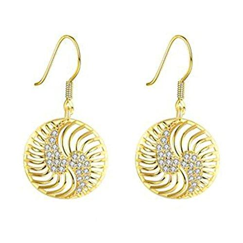 Women 18K Gold Plating Zircon Stud earrings(Rose Gold) - 8