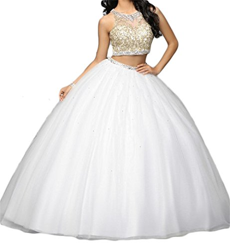 Dydsz Women's Ball Gown Long Quinceanera Dresses Prom Party 2 Piece Gold Embroidery White 8 - Embroidery Party Prom Jacket