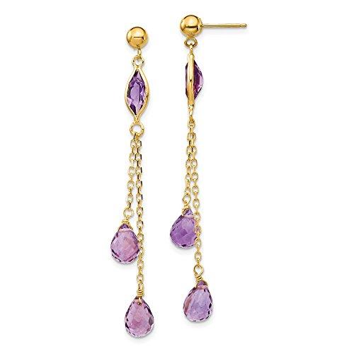 FB Jewels Solid 14K Yellow Gold Amethyst Post Dangle Earrings