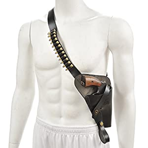 World War Supply M3 Victory Revolver Premium Black Drum Dyed Leather Tanker Shoulder Holster with shell loops Holster Only marked JT&L