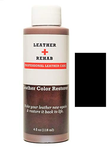 Leather Rehab Leather Color Restorer - Repair & Restore Faded, Worn and Scratched Leather & Vinyl Easily with No Kit - Furniture, Couch, Car Seat, Shoes, Jacket and Boots - 4 oz. Black