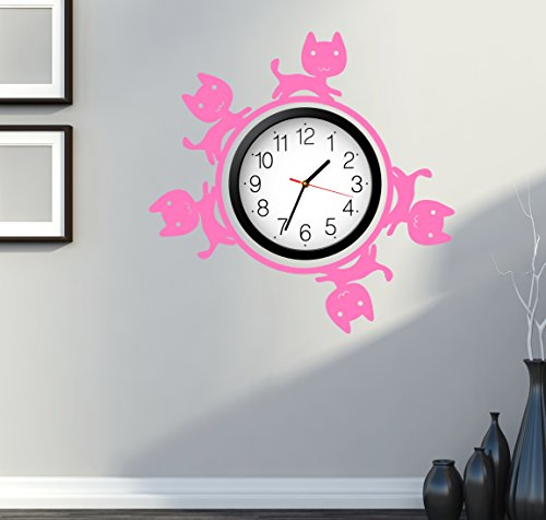 Cat Kitty Pets Cute For Bedroom Wall Decal Around Clock Pink (z2689)