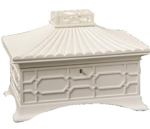 Global Views 20-1/4-Inch Long by 14-Inch Tall Grande Jewelry Box, White - Pagoda Curio