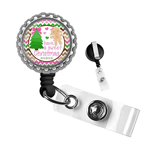Gingerbread Have a Sweet Christmas Silver Retractable Badge Reel ID Tag Holder by Geek - Sweet Gingerbread