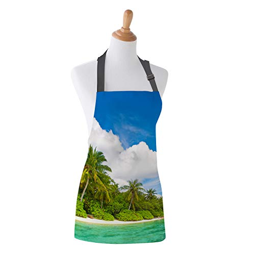 Apron Tropical Ocean Coast Island Palms Trees Theme Design Kitchen Bib Apron Ideal for Cooking Dishwashing Cleaning Painting 15X20Inch