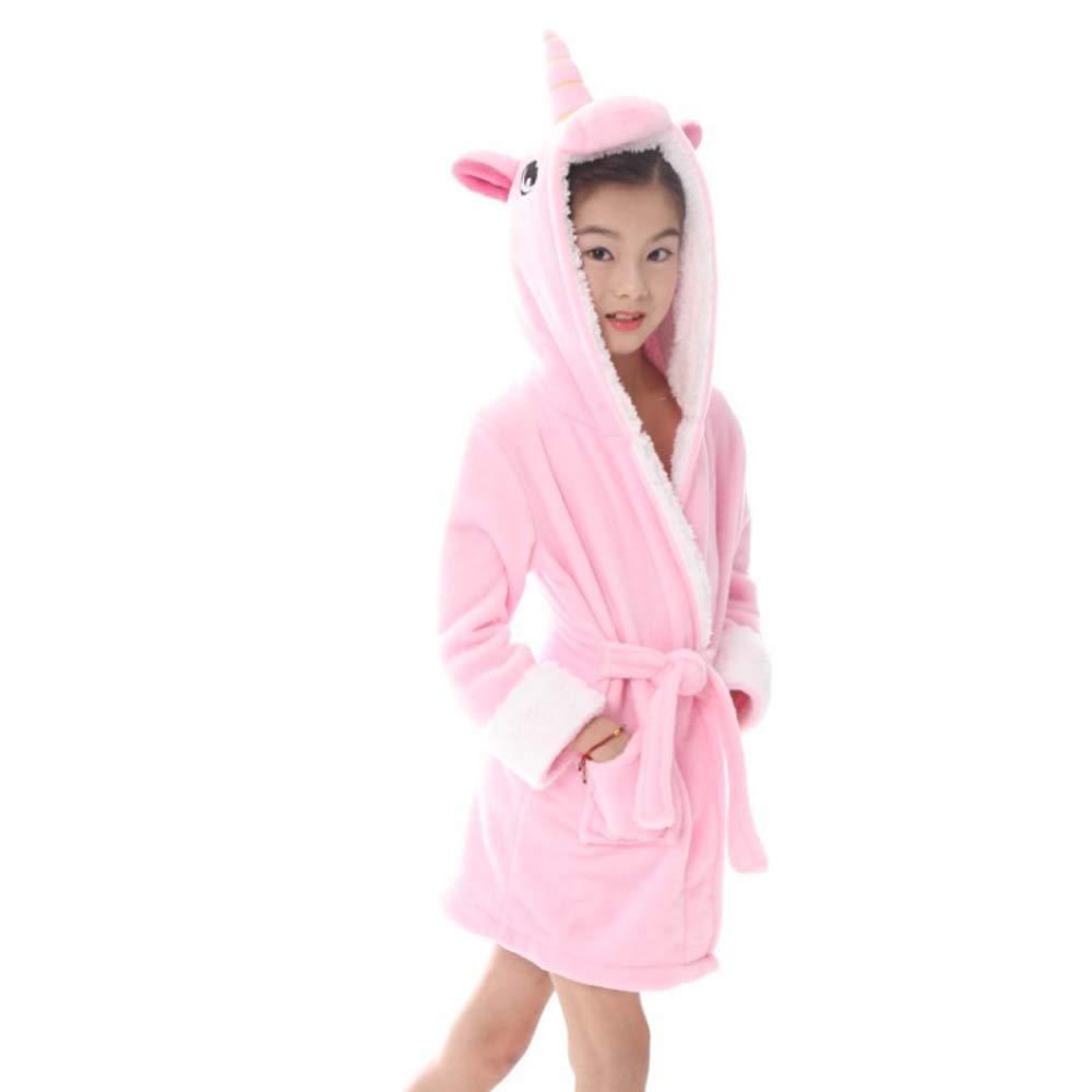 LITTHING Kids Bathrobe Soft Flannel Robe Fleece Sleepwear Hooded Bath Robe