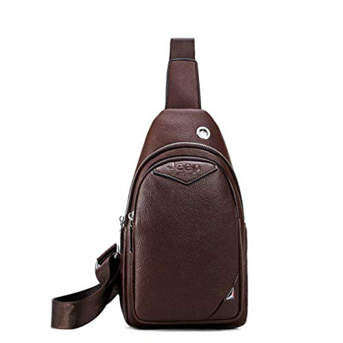 Men's Sling Bags Brand Fashion Men Chest Bag Split Leather Crossbody Shoulder Bags Travel Light Brown (Tamrac Strap Brown)