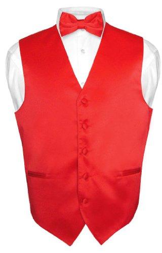 Men's Dress Vest & BowTie Solid RED Color Bow Tie Set for Suit or Tuxedo Large