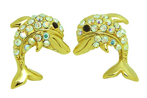 Poonsuk@lucky 24k Gold Plated Cute Dolphin Stud Earrings on (24k Dolphins Earrings)