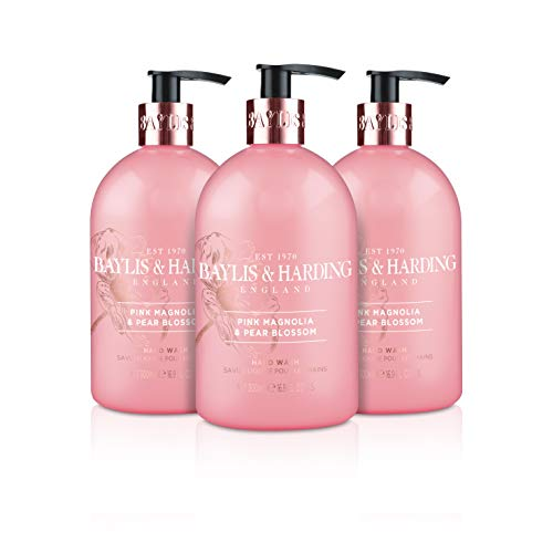 (Baylis & Harding Pink Magnolia & Pear Blossom 500ml Hand Wash, Pack Of 3, 571 Gram)