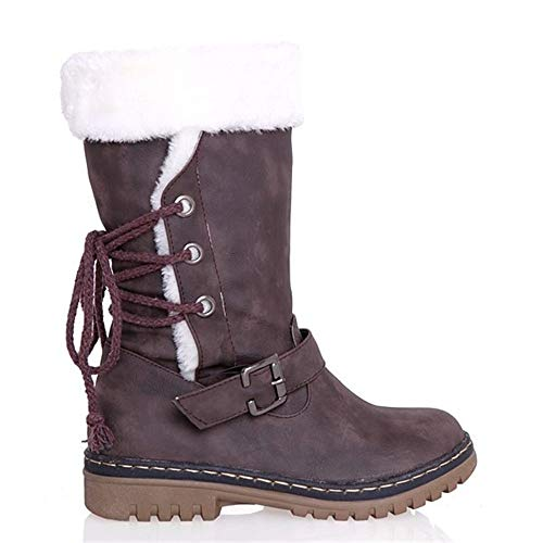 TOP Fighting Women's Shoes Lace up Snow Mid Calf Boots(Chocolate 7)