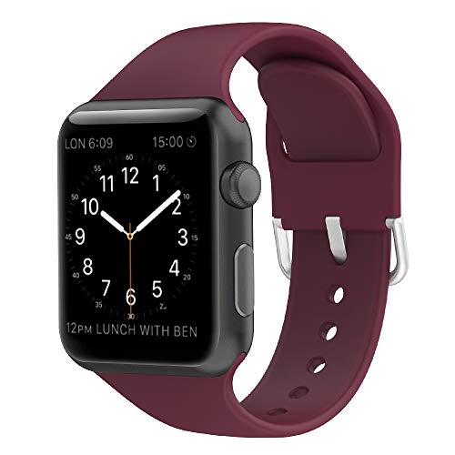 Wenger Replacement - GeekSpark Compatible with Apple Watch Band 38mm 40mm 42mm 44mm,Soft Silicone Sport Strap Replacement iWatch Bands for iWatch Series 1,2,3,4 Women/Men