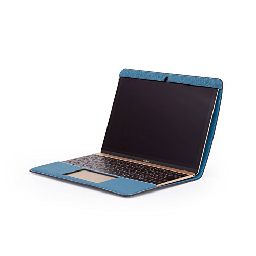 ZENDO MacBook 12'' Leather Cover (Full-Grain Shrunken Calf Leather) | PRIMO Luxury Full-Grain Leather [SIZE: MacBook 12'' | AQUABLUE] by Zendo (Image #2)
