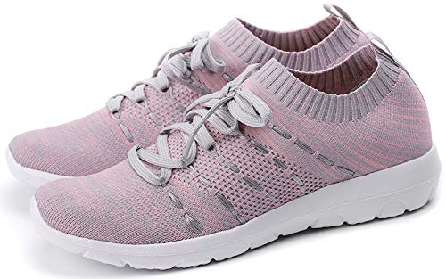PresaNew Women's Athletic Walking Sneakers Lightweigh Casual Mesh Comfortable Walk Shoes Grey/Pink