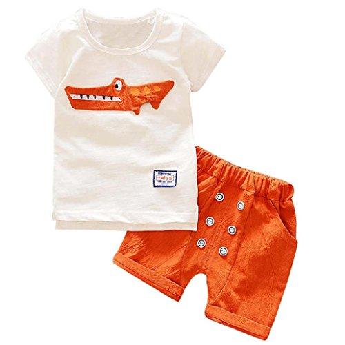 Toddler Kid Baby Boy Outfits Lovely Cute Cartoon Print T Shirt Tops Shorts Pants Set  Orange  5T