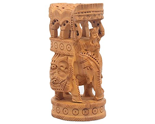 Imperial Elephant (Javi King's Imperial Elephant Ride Mahout Welcoming - Wooden Handmade Traditional Home Decor Elephant Sculpture and Figurine/Statue Table Top Showpiece/Accessory - 4 Inch)