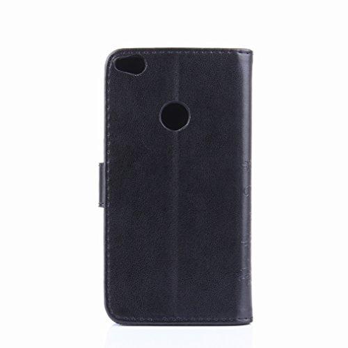 Yiizy Huawei P8 Lite (2017) / Honor 8 Lite Custodia Cover, Erba Fiore Design Premium PU Leather Slim Flip Wallet Cover Bumper Protective Shell Pouch with Media Kickstand Card Slots (Nero)