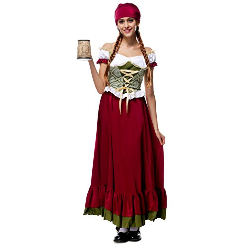 Hongyuanbb Women's Oktoberfest Costume Renaissance Halloween German Beer Maid Costume (German Beer Maid Outfit)