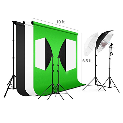 (Lightdow Photograph Background Support Equipment: Softbox+Backdrop+Light Stand+Umbrella+Reflector Green Screen Kit (Model Number: LD-TZ003))