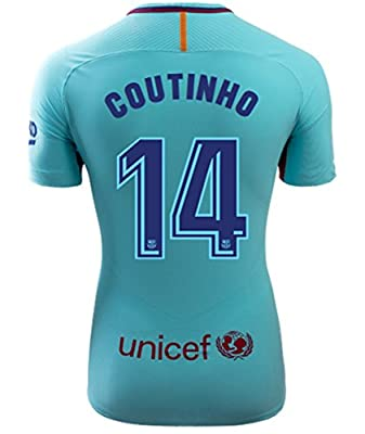 JackRose Barcelona #14 coutinho Away Mens Soccer Jersey 2017-2018 Season Purple Size M