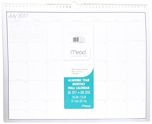 Monthly Academic Wall Calendar (Mead Academic Monthly Wall Calendar, July 2017 - June 2018, 14-7/8