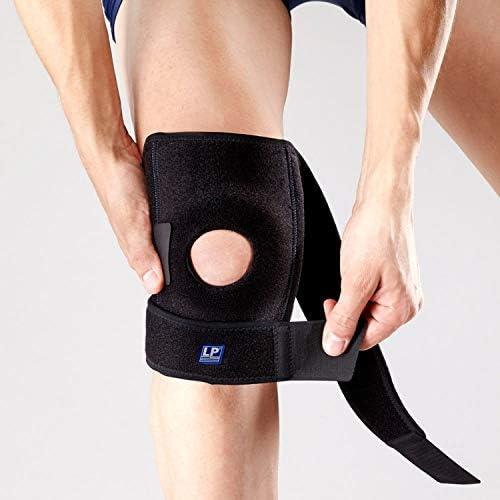 LP Support 733-KM atmungsaktive Kniebandage - offene Wickel-Knie-Bandage verstellbar - für Sport & Alltag, Größe:XL, Farbe:2 x schwarz