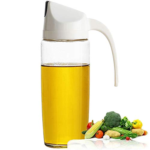 Drip Free Olive Oil Dispenser, Glass Salad Dressing Bottle, Vinegar Dispensing Cruets, Cooking Oil Condiment Containers and Easy Pouring Spout for Kitchen by Marbrasse (White)