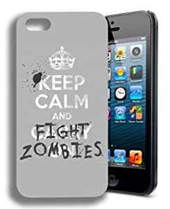 Keep Calm and Fight Zombies Funny Walking Dead Inspired Case For Sam Sung Galaxy S5 Cover