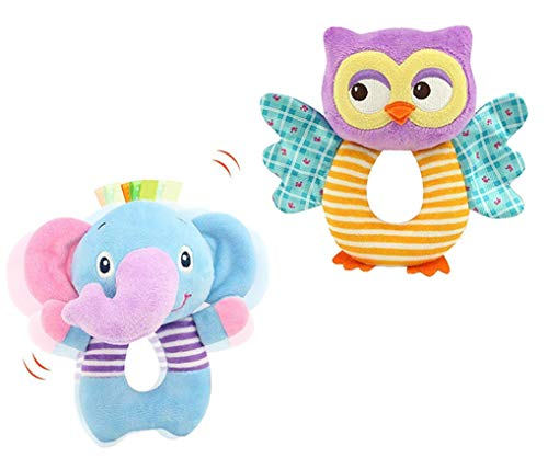 Godr Owl and Elephant Soft Rattle Toy for Over 0 Months