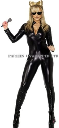 Lady Gaga Black Catsuit Fancy Dress Costume Size 16-18 (disfraz ...