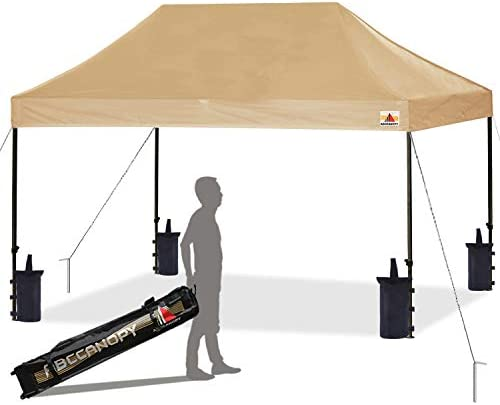 ABCCANOPY Pop up Canopy Tent Commercial Instant Shelter with Wheeled Carry Bag, Bonus 4 Canopy Sand Bags, 10×15 FT Beige
