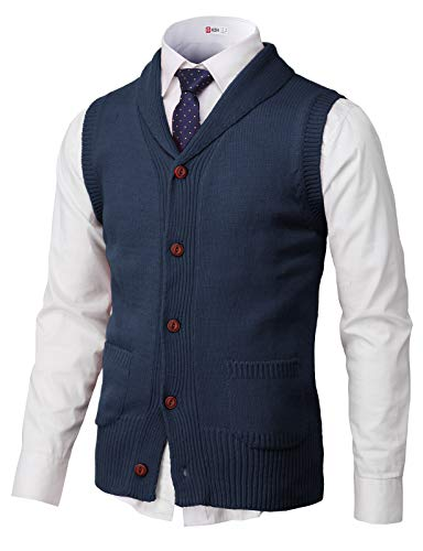 H2H Mens Casual Shawl Collar Button Down Pullover Vests Navy US 2XL/Asia 3XL (CMOV048)