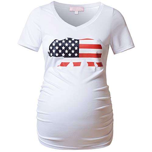 Bhome American Flag Print Maternity T Shirt 4th of July Pregnancy Top White XL (4th July Bear)