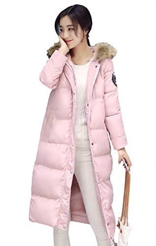 Pink Down Coat (Lkous Women's Thicken Maxi-length Slim Coat Hooded Down Jacket Faux Fur Collar)