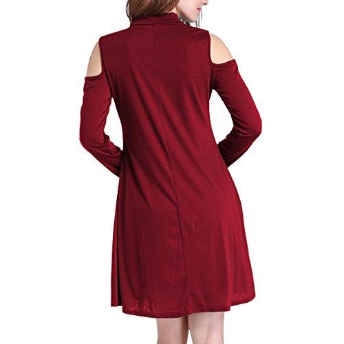 Casual Red T Sleeve Off Loose Women's Shoulder Short Dress Shirt Swing EvZUqZwxn1