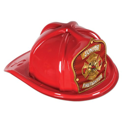Plastic Fire Hats (Beistle 66777-5 48-Pack Plastic Junior Firefighter Hats, Red)
