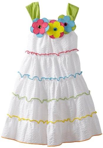 Rare Editions Girls 2T-6x Jewel Flowers Tiered Seersucker Dress, White, 2T