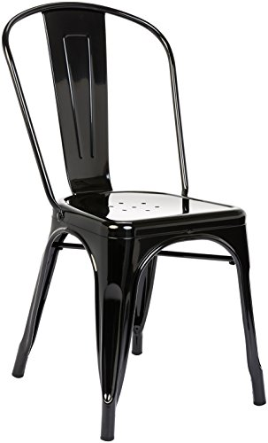 (Pioneer Square Haley Stackable Metal Chair, Set of 4, Jet Black)