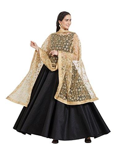 Dupatta Bazaar Woman's Gold Embroidered Net Dupatta