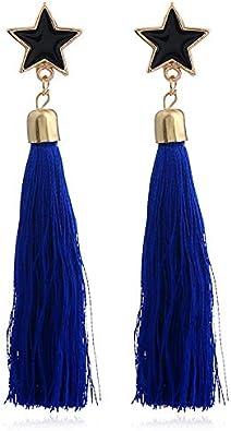 SHANGZHIQIN Personalidad de Moda Pendientes de Borla de Estrella de Cinco Puntas Gota de Aceite, Dale a tu Vida un Poco más de Color Azul Zafiro