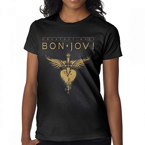 GMSQJ-Top Women's Funny Bon Jovi Tshirts M Black