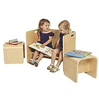 ECR4Kids Bentwood Multipurpose Kids Table and Chair Set, 3-Piece Adaptable Furniture Set, Kids