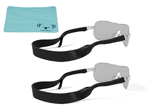 Croakies Original Neoprene Eyewear Retainer Sunglass Strap Band | Eyeglass & Sports Glasses Holder Keeper Lanyard | 2pk Bundle + Cloth, - Sunglass Straps Croakies