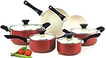Nonstick Ceramic Coating PTFE-PFOA-Cadmium Free 10-Piece Cookware Set, Red